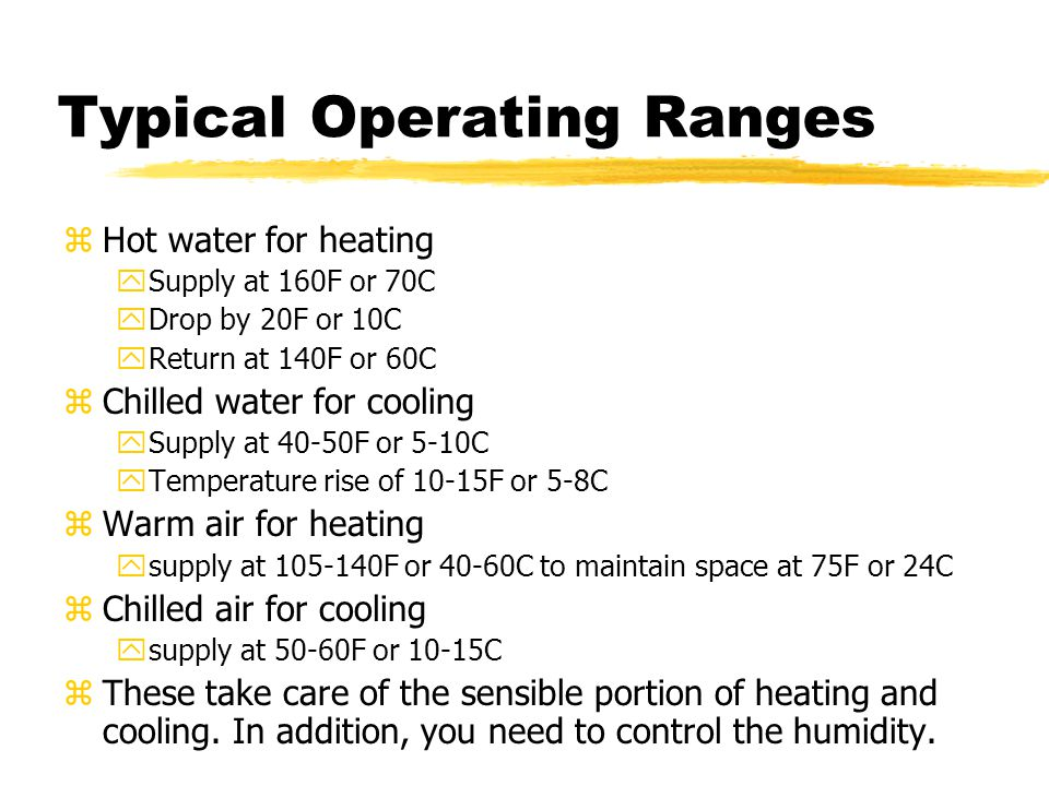 Typical Operating Ranges zHot water for heating ySupply at 160F or 70C yDrop by 20F or 10C yReturn at 140F or 60C zChilled water for cooling ySupply a