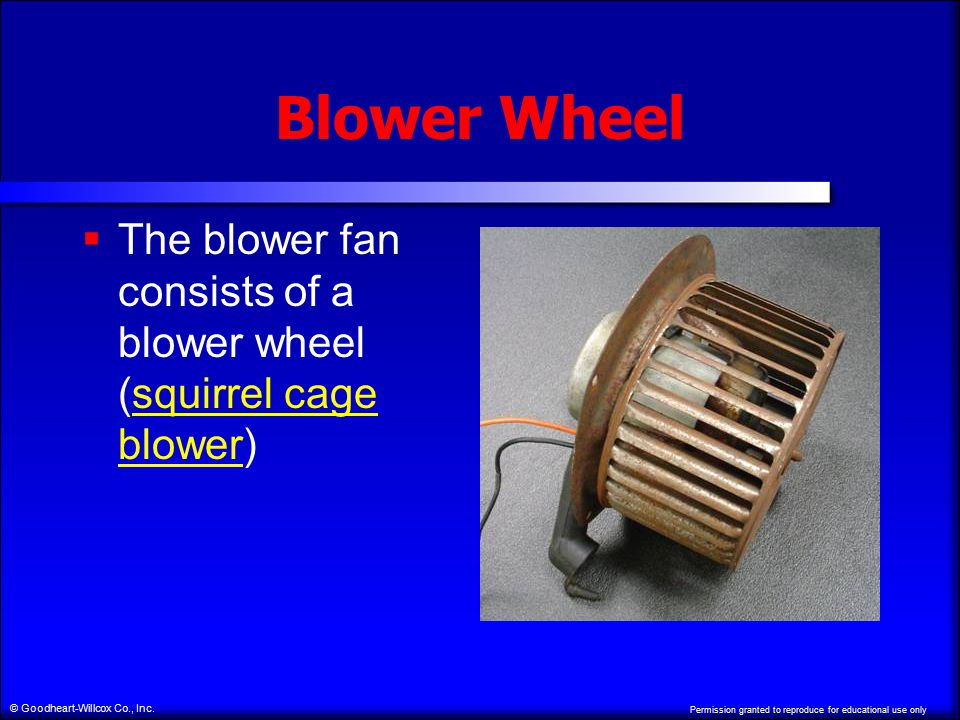 Permission granted to reproduce for educational use only © Goodheart-Willcox Co., Inc. Blower Wheel  The blower fan consists of a blower wheel (squir