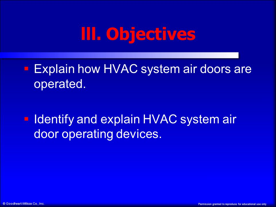 Permission granted to reproduce for educational use only © Goodheart-Willcox Co., Inc. lll. Objectives  Explain how HVAC system air doors are operate