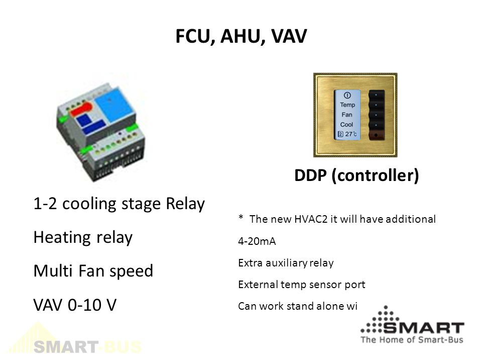DDP (controller) FCU, AHU, VAV 1-2 cooling stage Relay Heating relay Multi Fan speed VAV 0-10 V * The new HVAC2 it will have additional 4-20mA Extra auxiliary relay External temp sensor port Can work stand alone without DDP