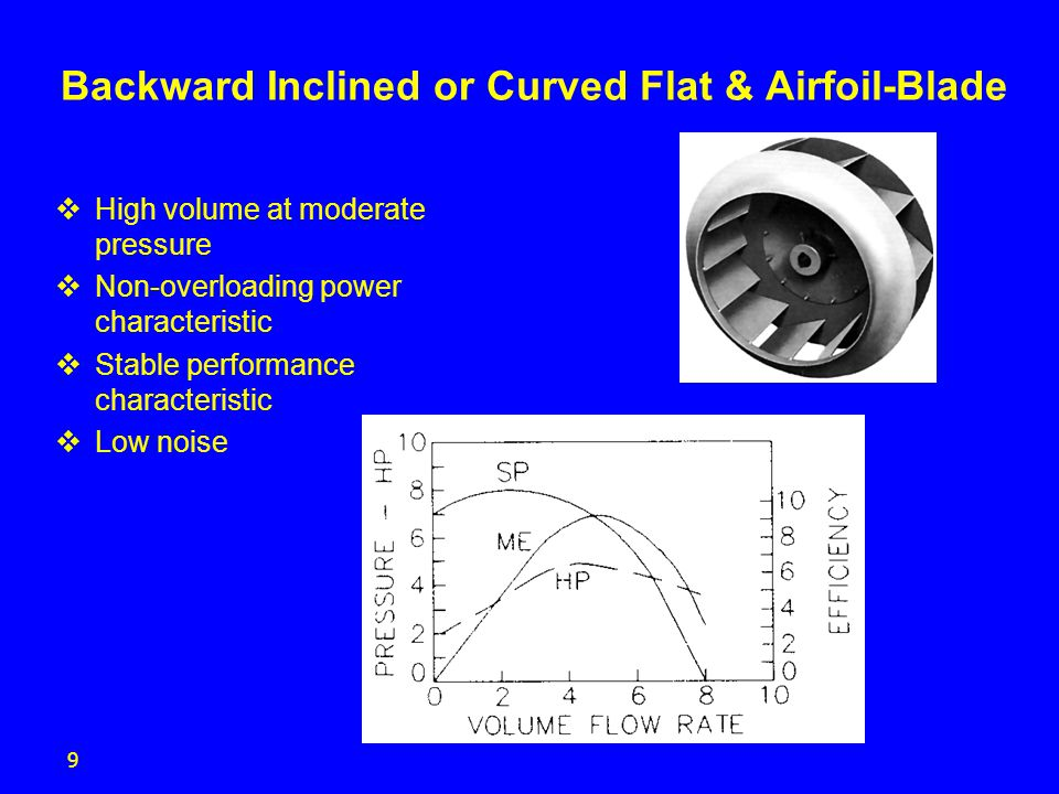 10 Centrifugal: Forward Curved Blade  Blades are curved forward in the direction of rotation  Must be properly applied to avoid unstable operation  Less efficient than Airfoil and Backward Inclined  Requires the lowest speed of any centrifugal to move a given amount of air  Used for low pressure HVAC systems  Clean air and high temperature applications  Typically smallest size selection  Rising power overloading characteristic