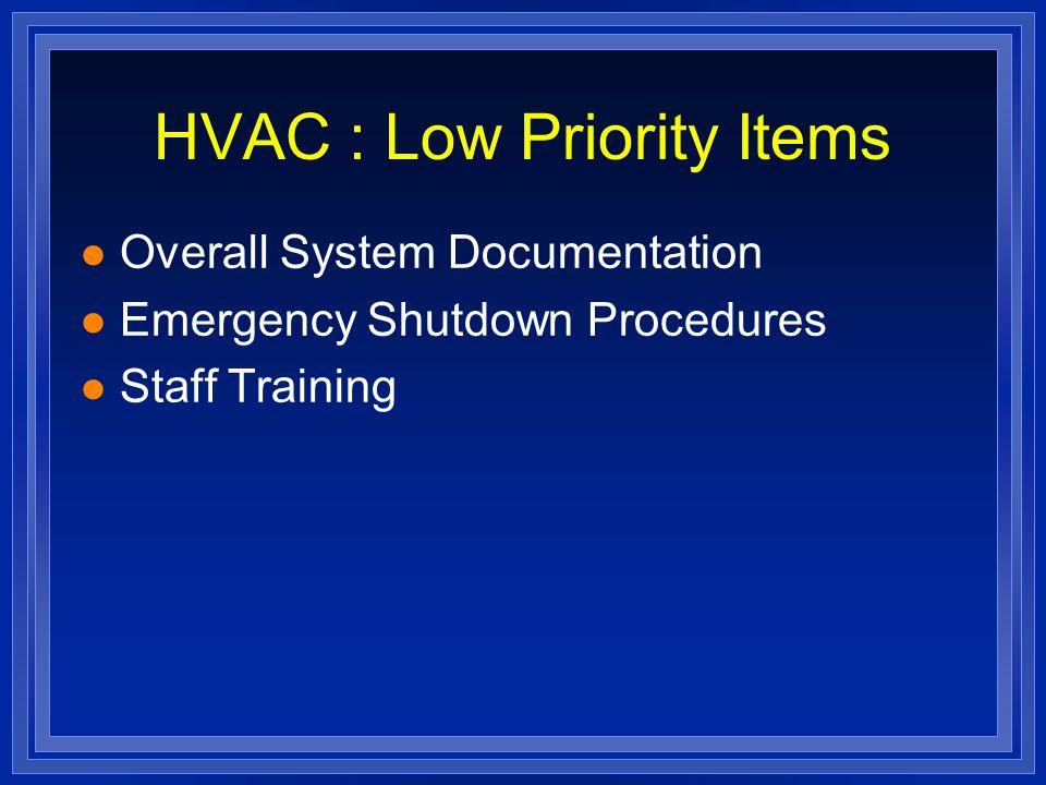 HVAC : Low Priority Items l Overall System Documentation l Emergency Shutdown Procedures l Staff Training