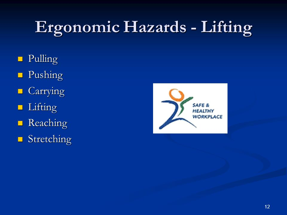 12 Ergonomic Hazards - Lifting Pulling Pulling Pushing Pushing Carrying Carrying Lifting Lifting Reaching Reaching Stretching Stretching