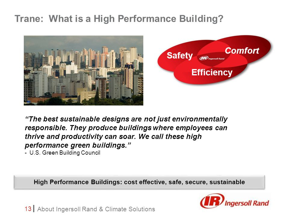 About Ingersoll Rand & Climate Solutions 13 Trane: What is a High Performance Building.