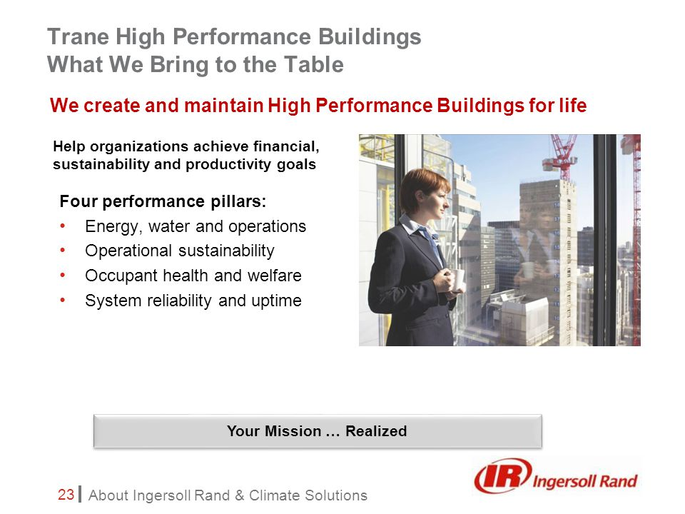 About Ingersoll Rand & Climate Solutions 23 Trane High Performance Buildings What We Bring to the Table Four performance pillars: Energy, water and operations Operational sustainability Occupant health and welfare System reliability and uptime We create and maintain High Performance Buildings for life Help organizations achieve financial, sustainability and productivity goals Your Mission … Realized