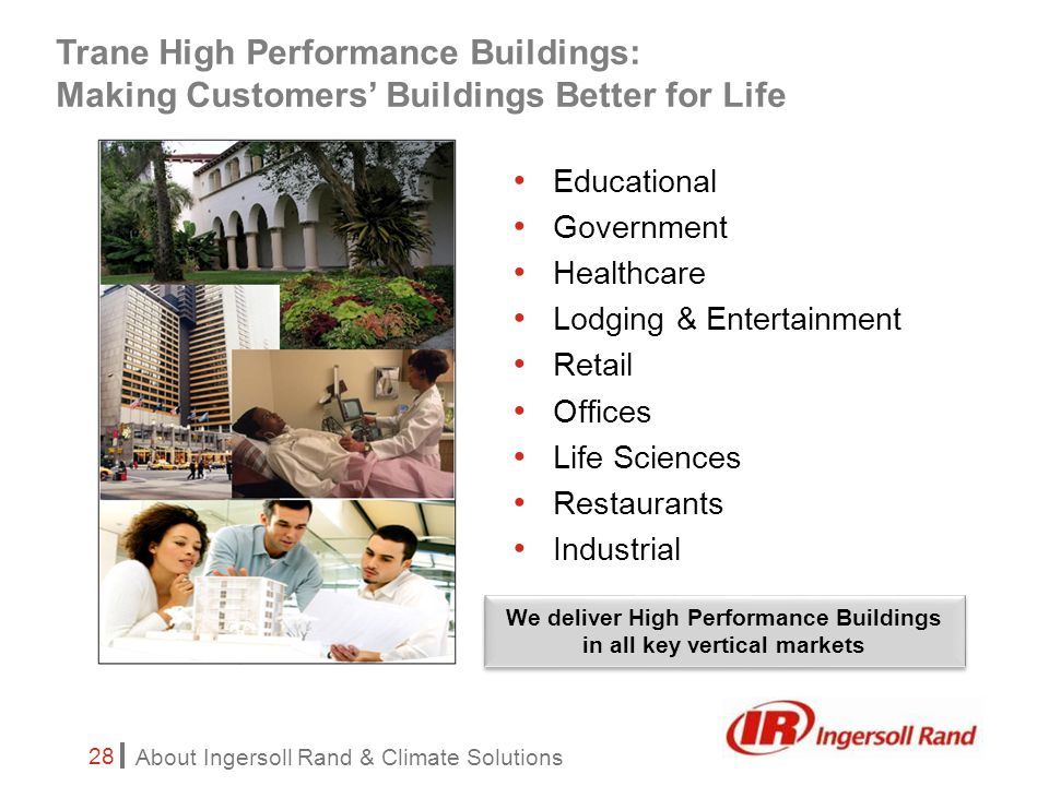 About Ingersoll Rand & Climate Solutions 28 Trane High Performance Buildings: Making Customers' Buildings Better for Life Educational Government Healthcare Lodging & Entertainment Retail Offices Life Sciences Restaurants Industrial We deliver High Performance Buildings in all key vertical markets