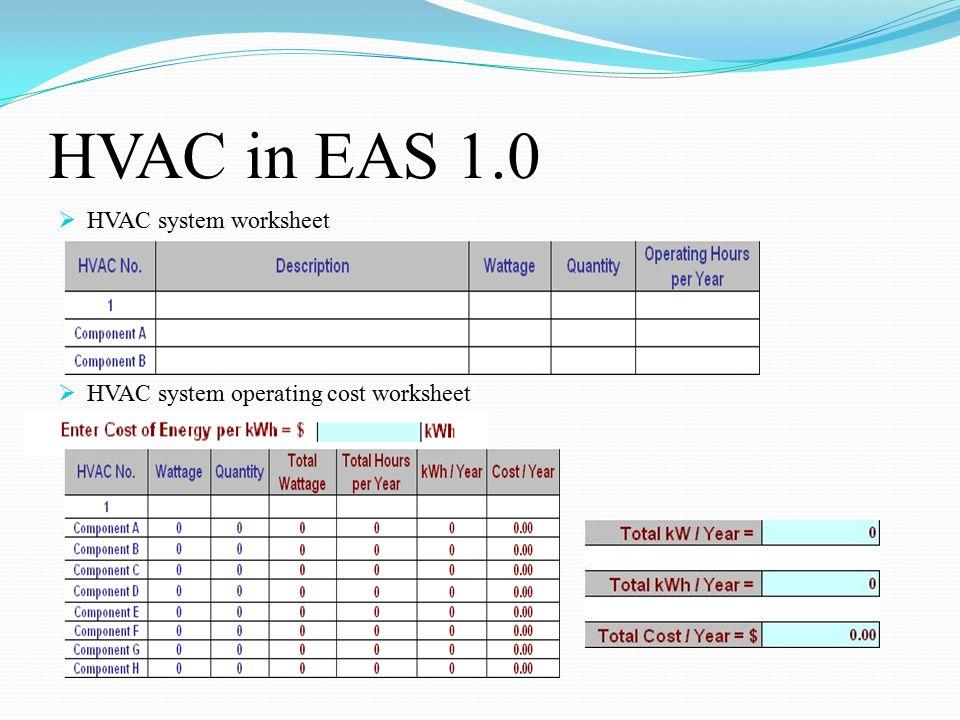 HVAC in EAS 1.0  HVAC system worksheet  HVAC system operating cost worksheet
