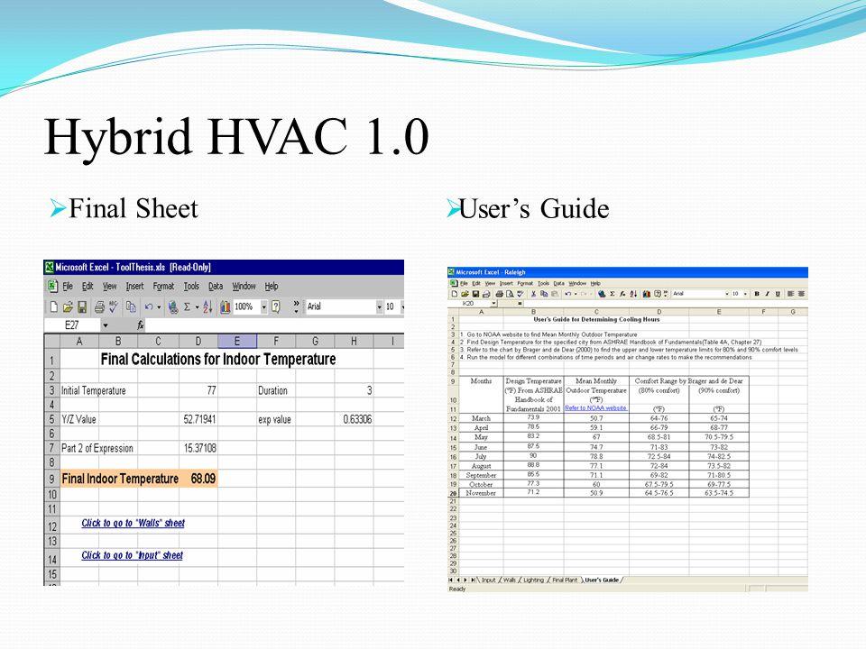Hybrid HVAC 1.0  Final Sheet  User's Guide