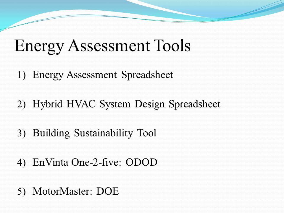 Energy Assessment Tools 1) Energy Assessment Spreadsheet 2) Hybrid HVAC System Design Spreadsheet 3) Building Sustainability Tool 4) EnVinta One-2-five: ODOD 5) MotorMaster: DOE