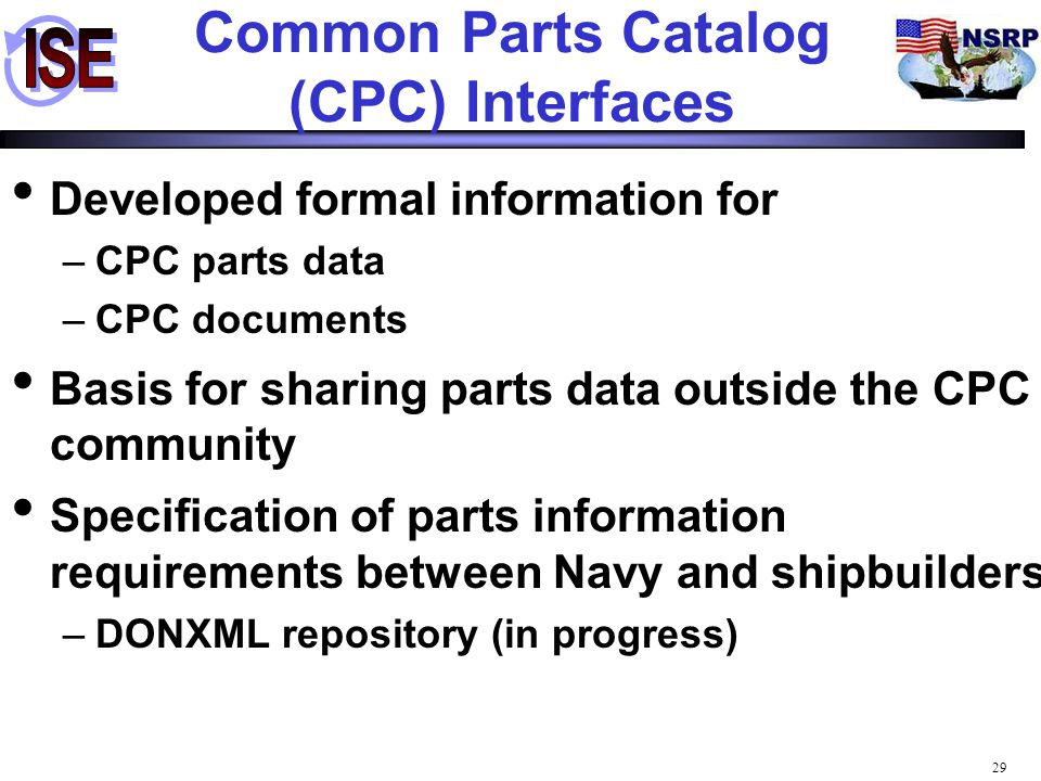 29 Common Parts Catalog (CPC) Interfaces Developed formal information for –CPC parts data –CPC documents Basis for sharing parts data outside the CPC