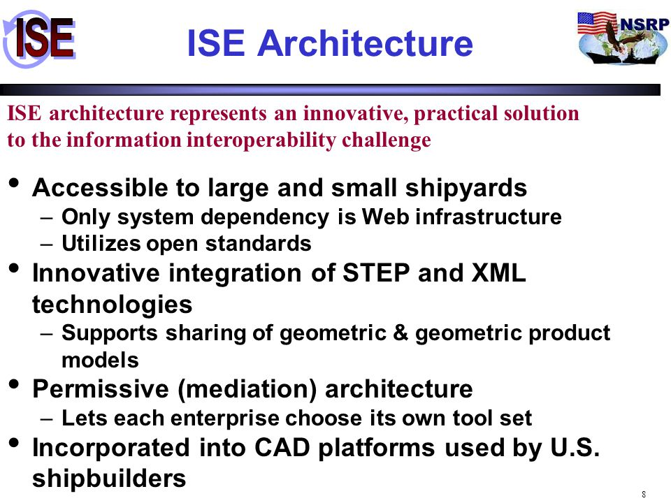 9 Levels of Interoperability INTOP Inter-business system domain Shipyard A Shipyard B Inter-System Inter- component IDE Parts Library PDM/CAD ERP/CAM Inter-System Inter- component IDE Parts Library PDM/CAD ERP/CAM