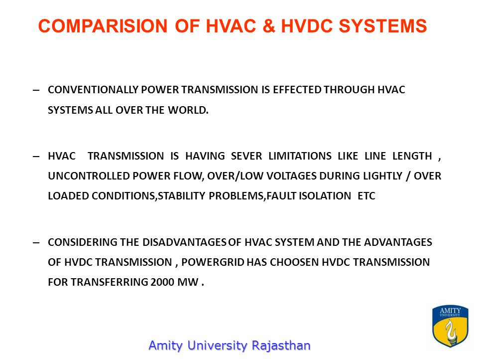 – CONVENTIONALLY POWER TRANSMISSION IS EFFECTED THROUGH HVAC SYSTEMS ALL OVER THE WORLD.