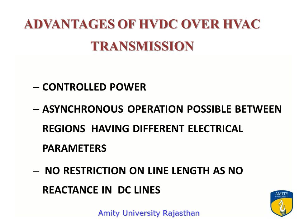 – CONTROLLED POWER – ASYNCHRONOUS OPERATION POSSIBLE BETWEEN REGIONS HAVING DIFFERENT ELECTRICAL PARAMETERS – NO RESTRICTION ON LINE LENGTH AS NO REACTANCE IN DC LINES ADVANTAGES OF HVDC OVER HVAC TRANSMISSION Amity University Rajasthan