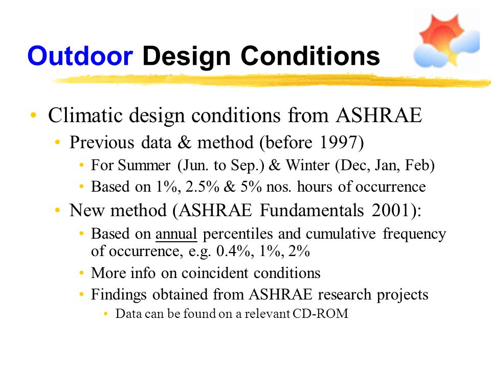 Outdoor Design Conditions Climatic design conditions from ASHRAE Previous data & method (before 1997) For Summer (Jun. to Sep.) & Winter (Dec, Jan, Fe