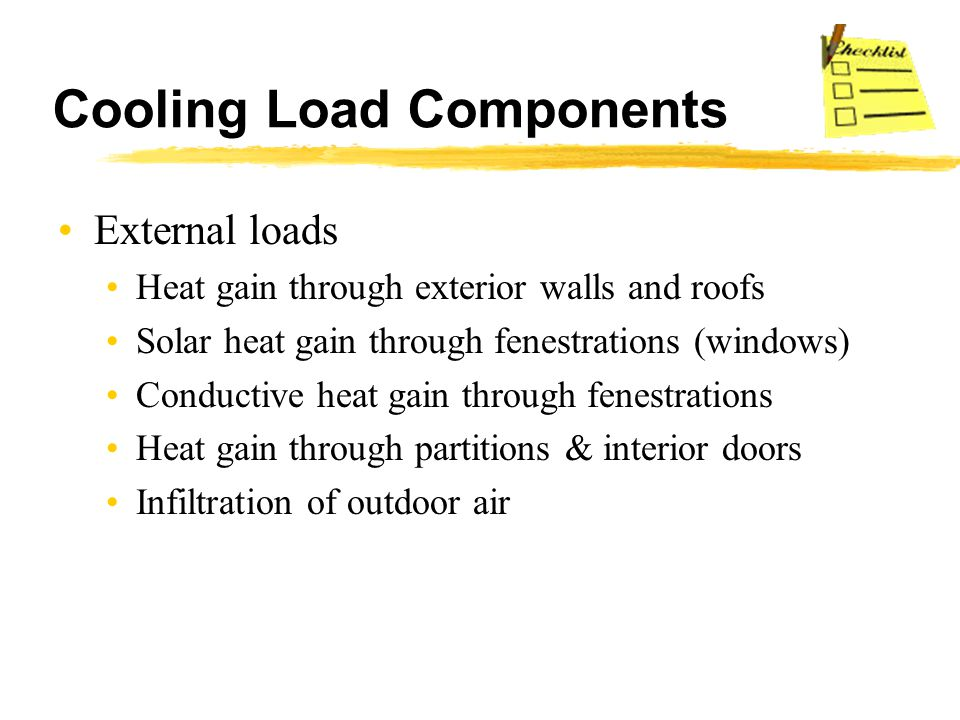 Cooling Load Components External loads Heat gain through exterior walls and roofs Solar heat gain through fenestrations (windows) Conductive heat gain