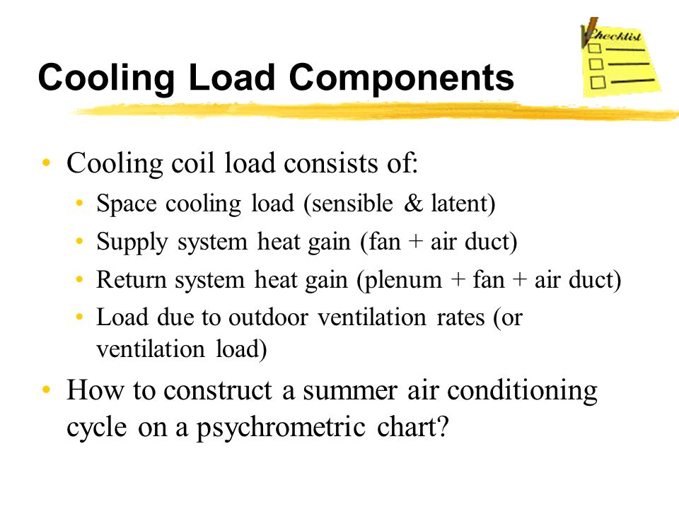 Cooling Load Components Cooling coil load consists of: Space cooling load (sensible & latent) Supply system heat gain (fan + air duct) Return system h