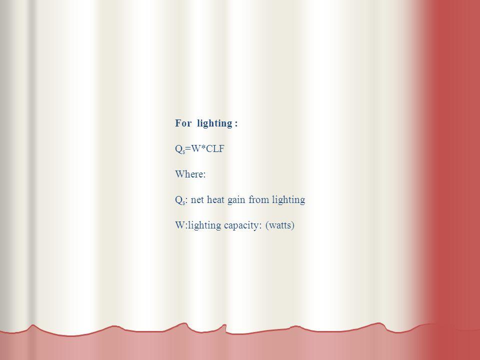 For lighting : Q s =W*CLF Where: Q s : net heat gain from lighting W:lighting capacity: (watts)