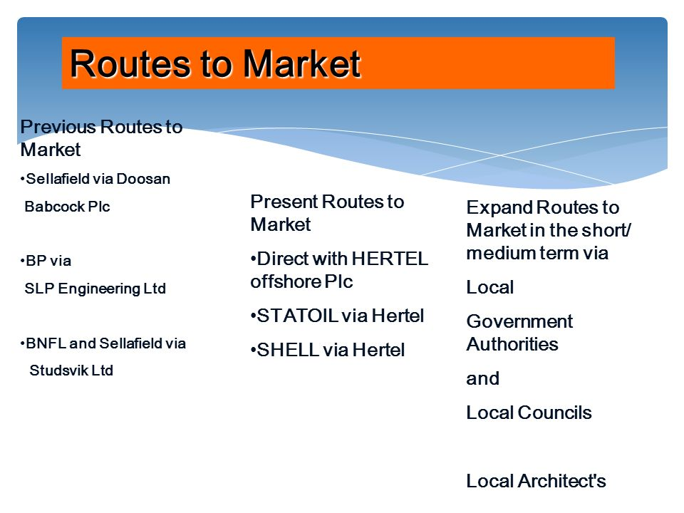 Previous Routes to Market Sellafield via Doosan Babcock Plc BP via SLP Engineering Ltd BNFL and Sellafield via Studsvik Ltd Routes to Market Present Routes to Market Direct with HERTEL offshore Plc STATOIL via Hertel SHELL via Hertel Expand Routes to Market in the short/ medium term via Local Government Authorities and Local Councils Local Architect s