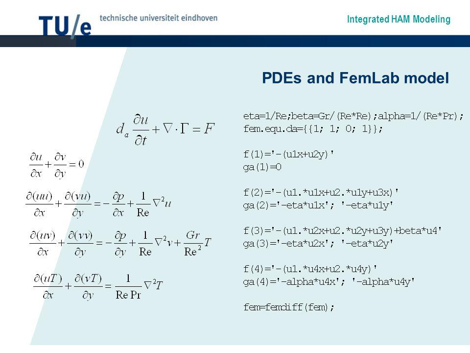 Integrated HAM Modeling PDEs and FemLab model