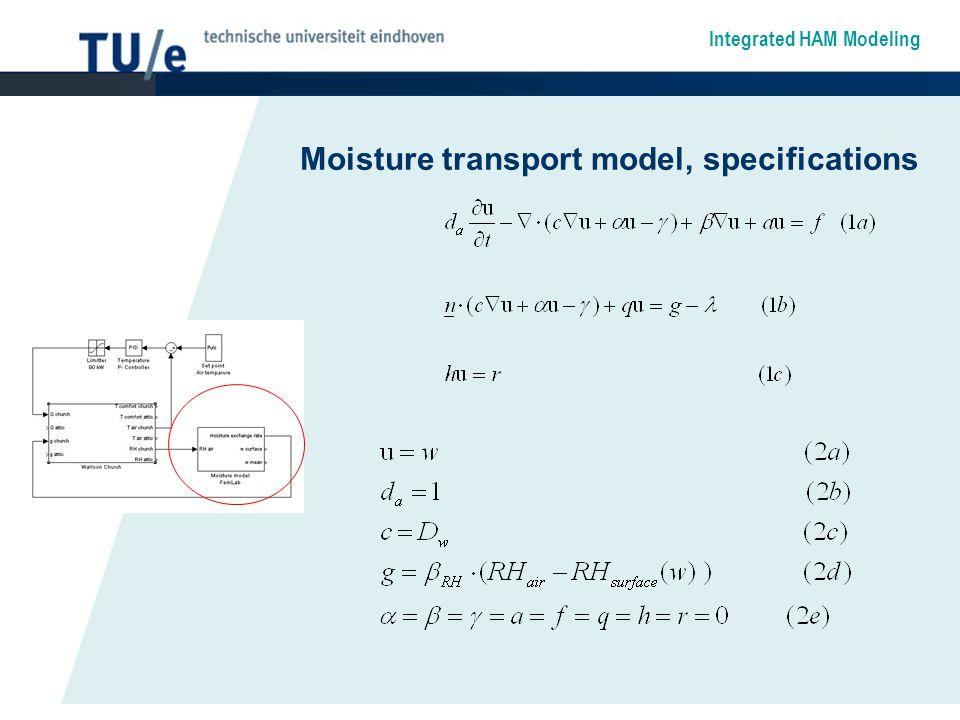 Integrated HAM Modeling Moisture transport model, specifications