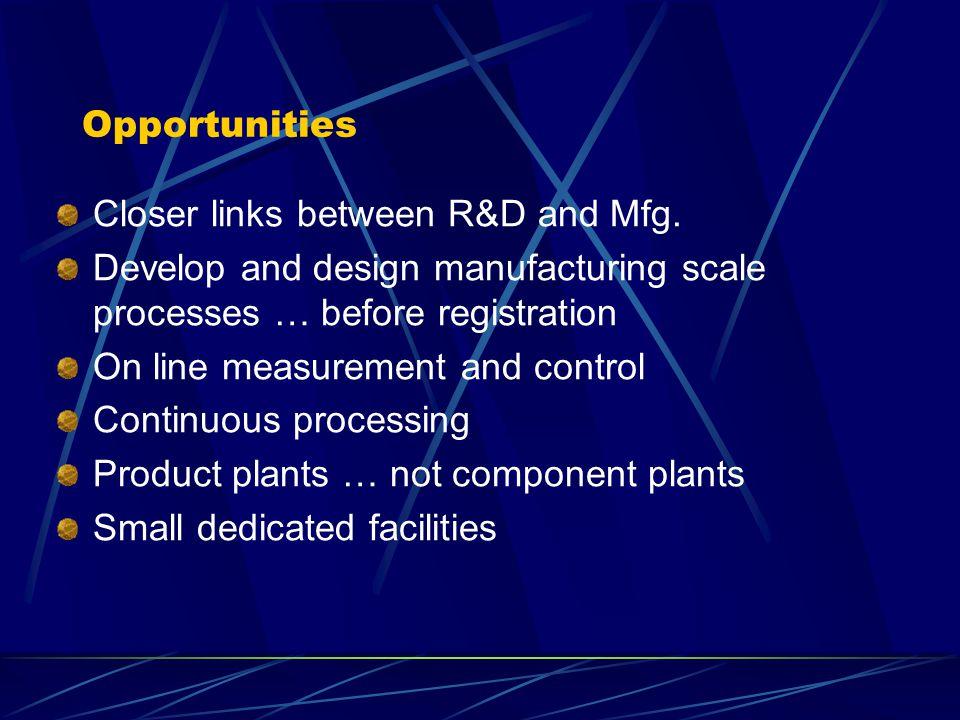 Opportunities Closer links between R&D and Mfg.