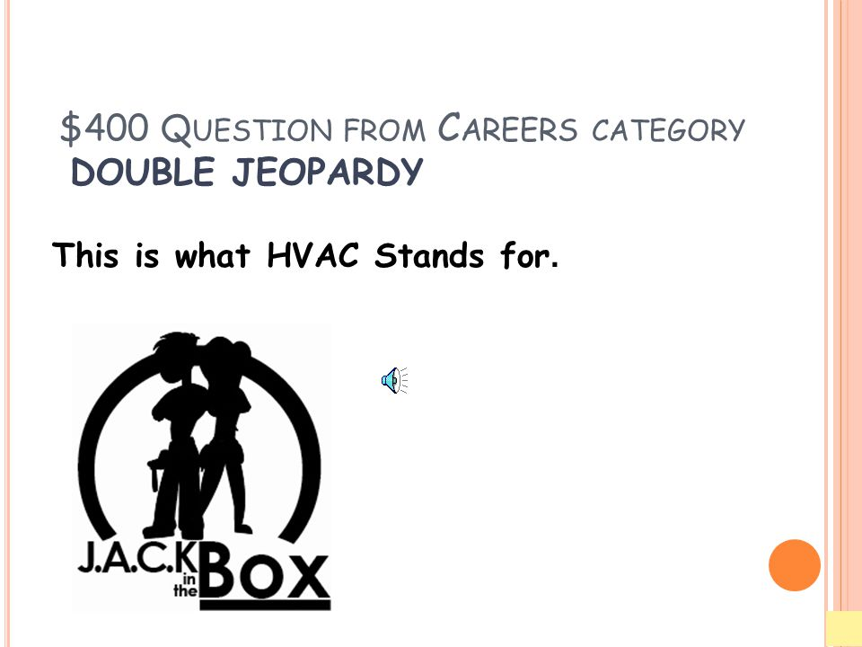 $400 Q UESTION FROM C AREERS CATEGORY DOUBLE JEOPARDY This is what HVAC Stands for.