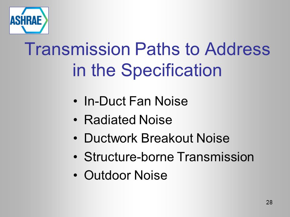 Transmission Paths to Address in the Specification In-Duct Fan Noise Radiated Noise Ductwork Breakout Noise Structure-borne Transmission Outdoor Noise