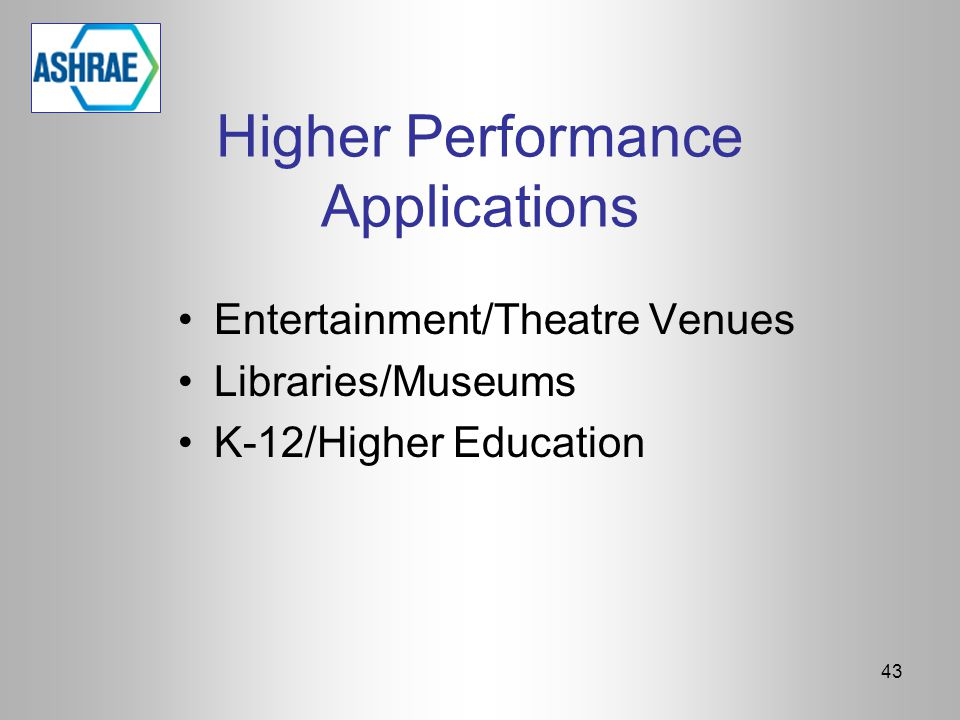Higher Performance Applications Entertainment/Theatre Venues Libraries/Museums K-12/Higher Education 43