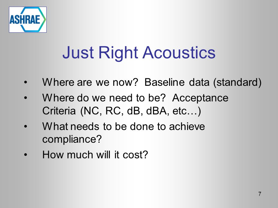 7 Just Right Acoustics Where are we now.Baseline data (standard) Where do we need to be.