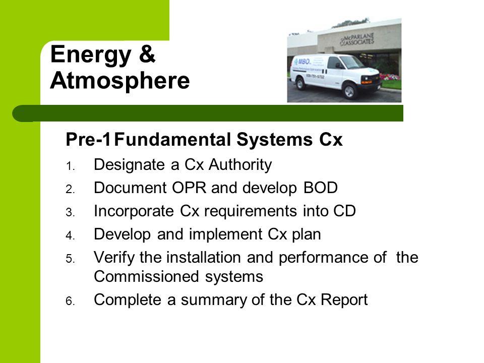Energy & Atmosphere Pre-1Fundamental Systems Cx 1.