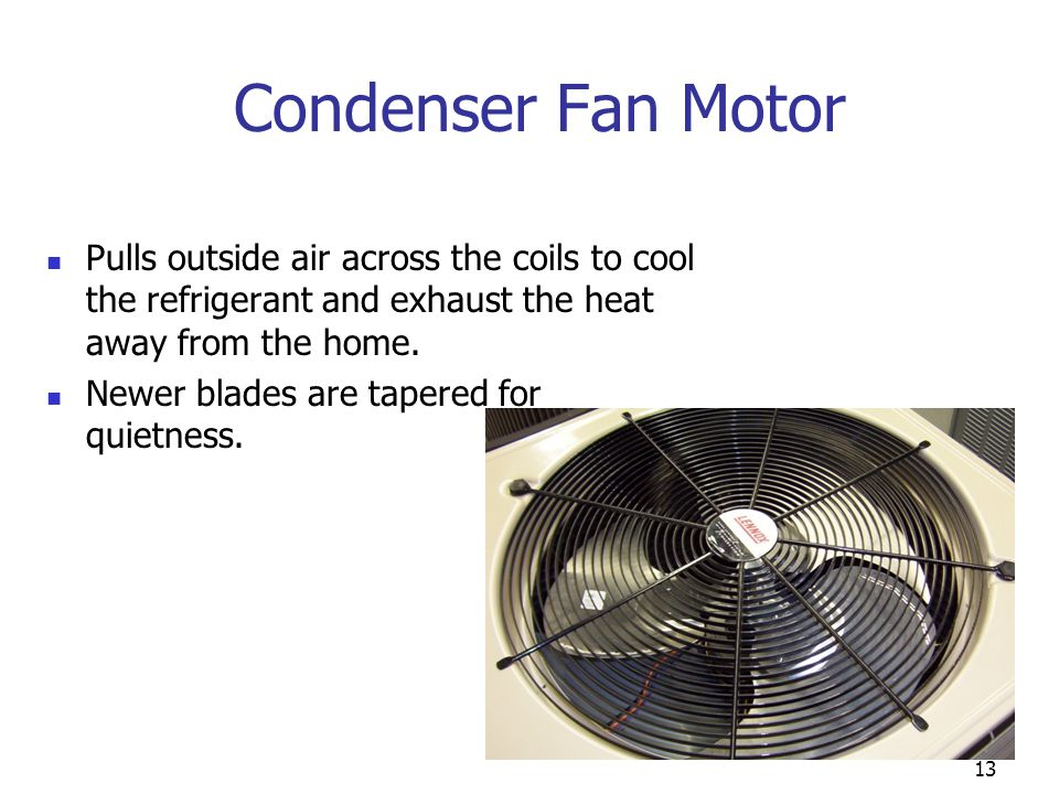 13 Condenser Fan Motor Pulls outside air across the coils to cool the refrigerant and exhaust the heat away from the home. Newer blades are tapered fo