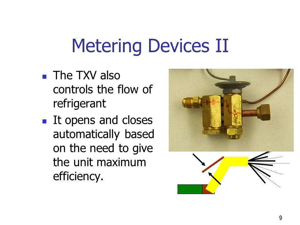 9 Metering Devices II The TXV also controls the flow of refrigerant It opens and closes automatically based on the need to give the unit maximum effic