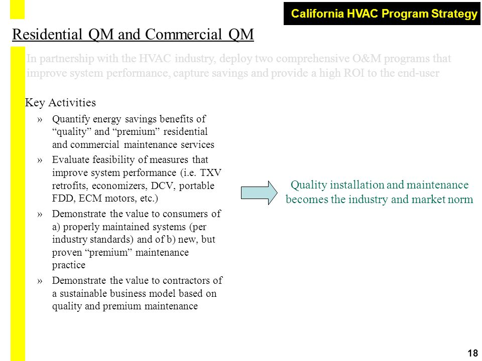 "California HVAC Program Strategy 18 Residential QM and Commercial QM Key Activities »Quantify energy savings benefits of ""quality"" and ""premium"" resid"