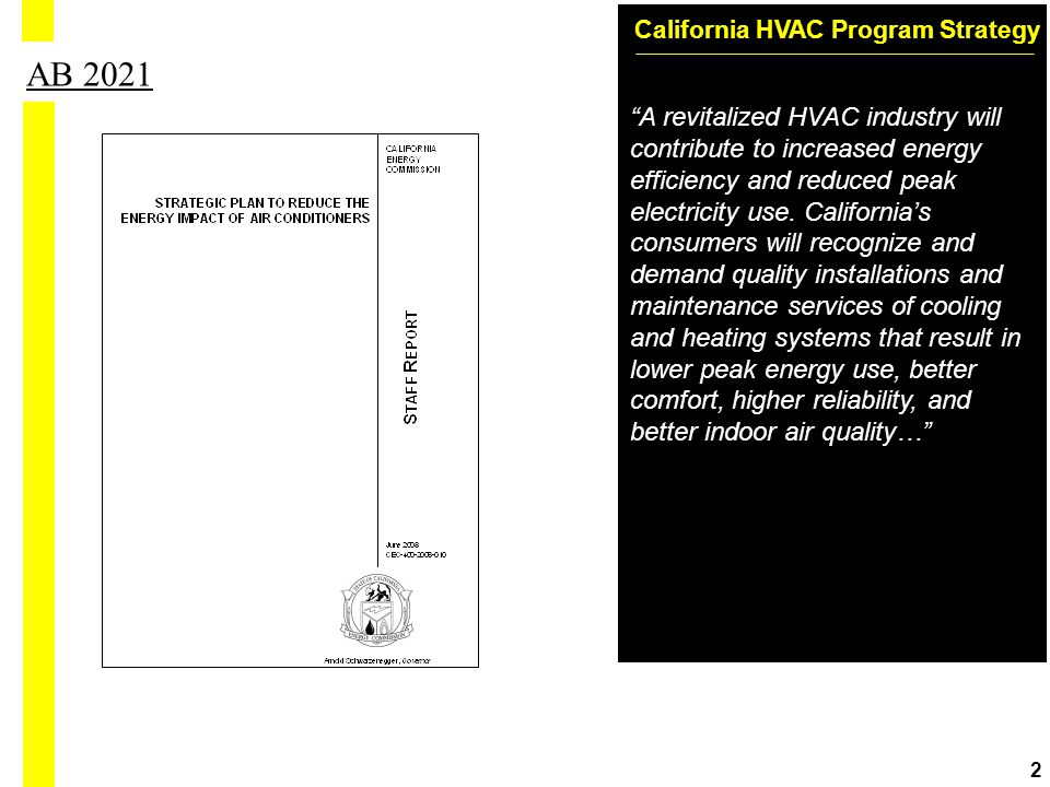 California HVAC Program Strategy 2 AB 2021 A revitalized HVAC industry will contribute to increased energy efficiency and reduced peak electricity use.