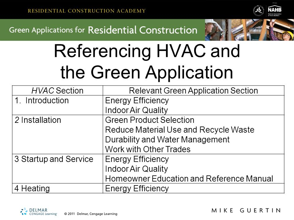 Referencing HVAC and the Green Application HVAC SectionRelevant Green Application Section 1.IntroductionEnergy Efficiency Indoor Air Quality 2 InstallationGreen Product Selection Reduce Material Use and Recycle Waste Durability and Water Management Work with Other Trades 3 Startup and ServiceEnergy Efficiency Indoor Air Quality Homeowner Education and Reference Manual 4 HeatingEnergy Efficiency