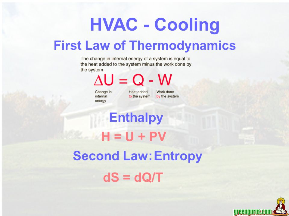 First Law of Thermodynamics H = U + PV Enthalpy Second Law: Entropy HVAC - Cooling dS = dQ/T