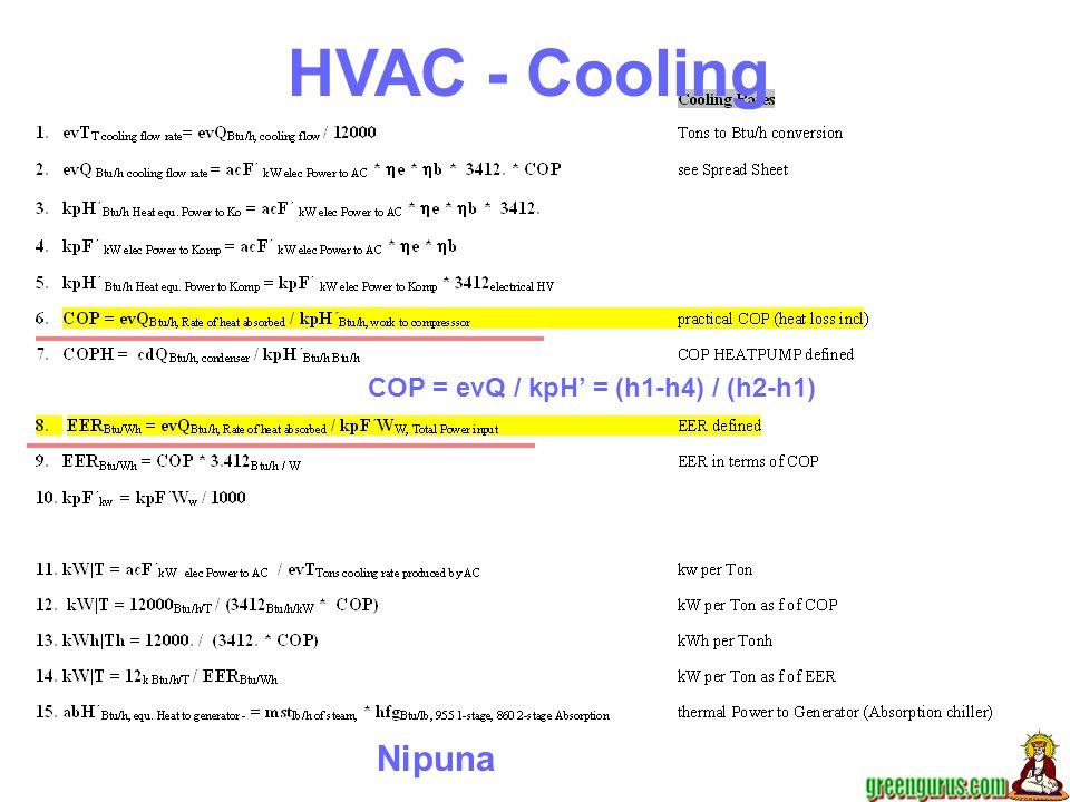 Nipuna COP = evQ / kpH' = (h1-h4) / (h2-h1) HVAC - Cooling