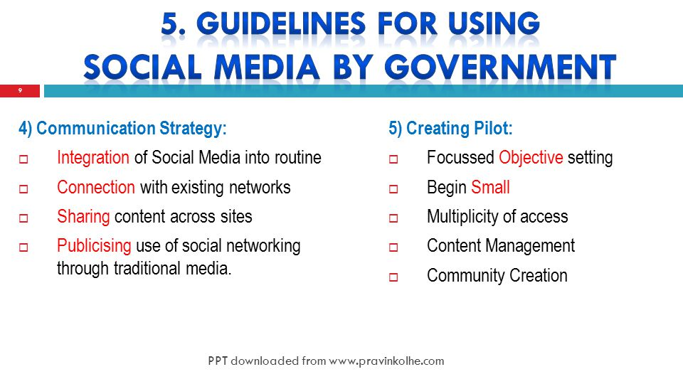 4) Communication Strategy:  Integration of Social Media into routine  Connection with existing networks  Sharing content across sites  Publicising use of social networking through traditional media.