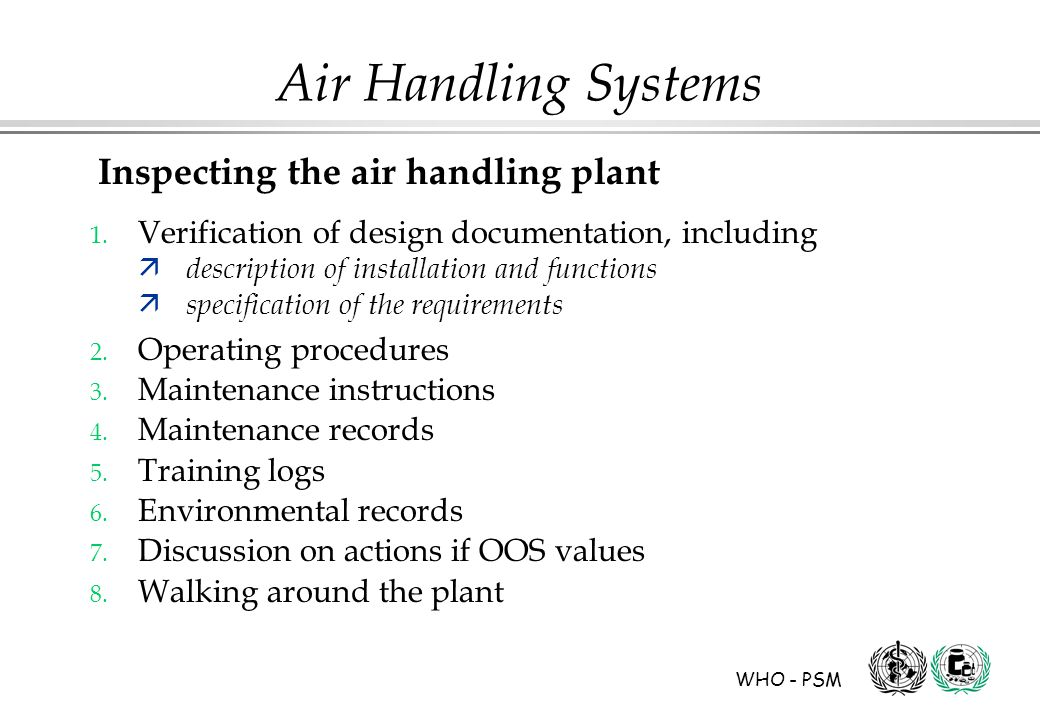 WHO - PSM Air Handling Systems 1.