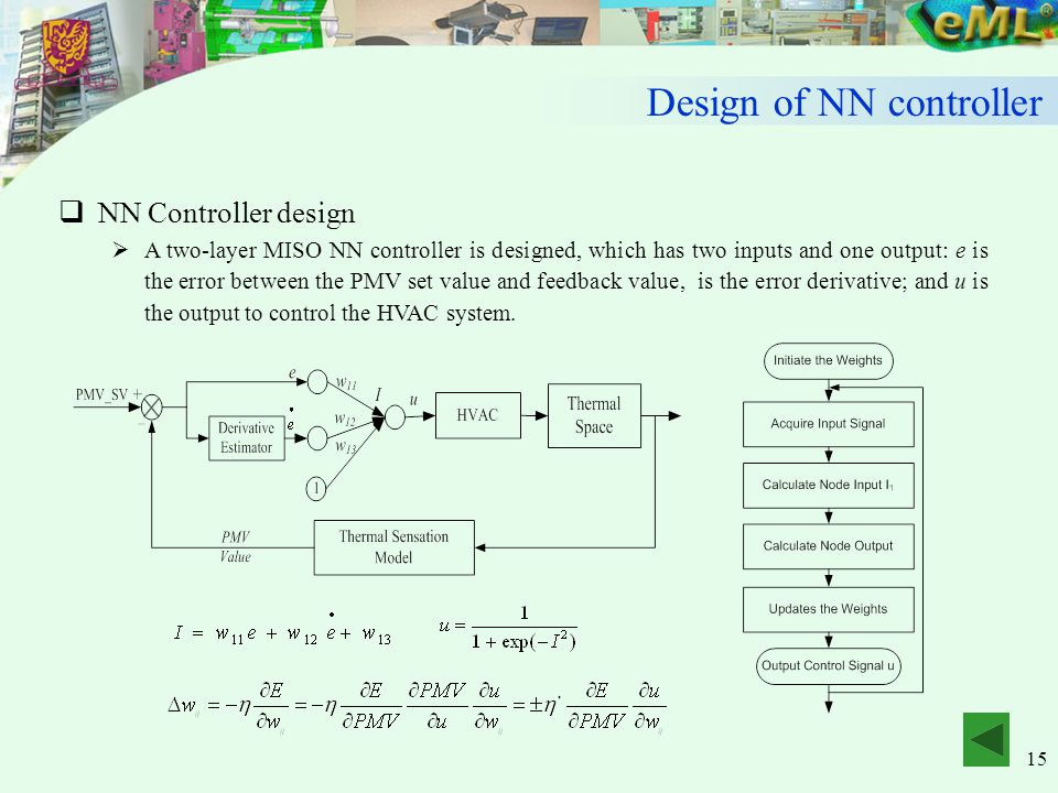 15  NN Controller design  A two-layer MISO NN controller is designed, which has two inputs and one output: e is the error between the PMV set value and feedback value, is the error derivative; and u is the output to control the HVAC system.