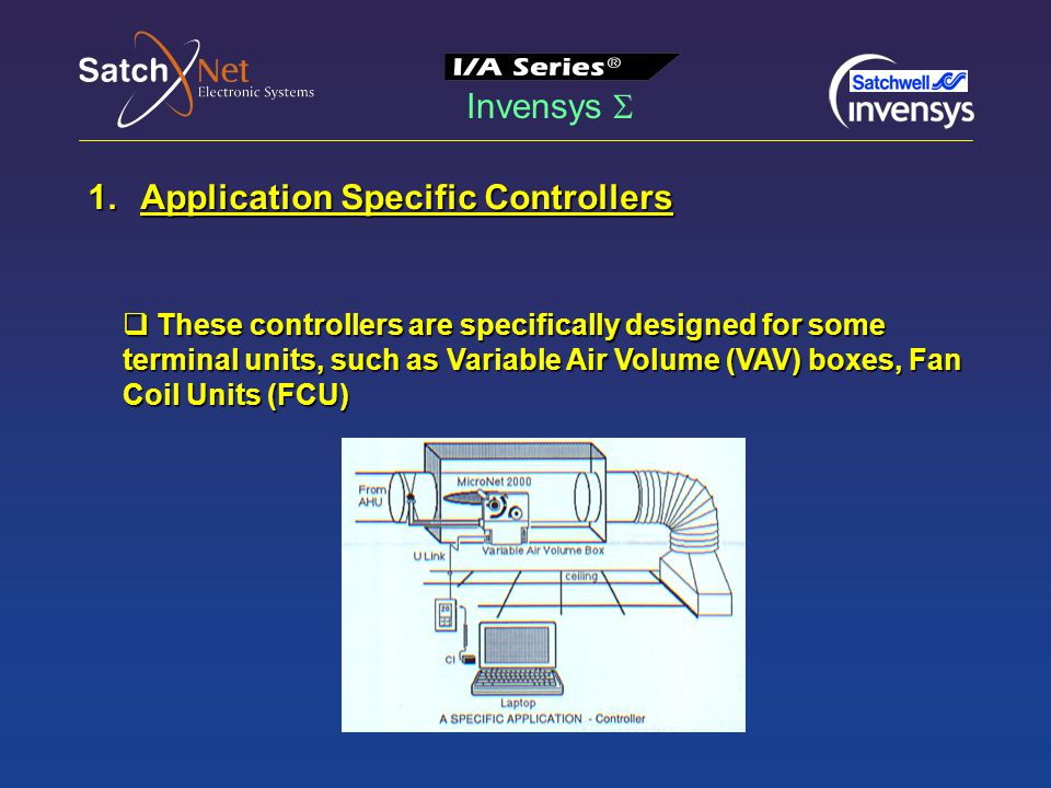 Invensys  1.Application Specific Controllers  These controllers are specifically designed for some terminal units, such as Variable Air Volume (VAV) boxes, Fan Coil Units (FCU) Fig.