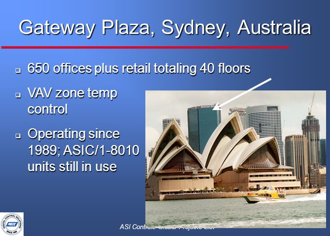 ASI Controls Global Projects List Gateway Plaza, Sydney, Australia  650 offices plus retail totaling 40 floors  VAV zone temp control  Operating since 1989; ASIC/1-8010 units still in use