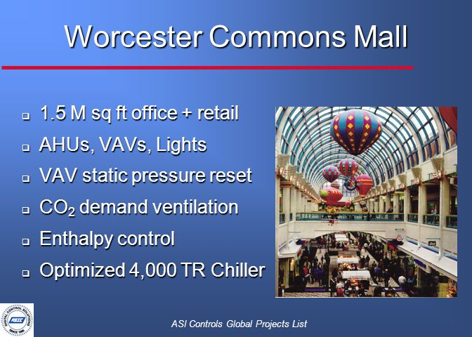 ASI Controls Global Projects List  1.5 M sq ft office + retail  AHUs, VAVs, Lights  VAV static pressure reset  CO 2 demand ventilation  Enthalpy control  Optimized 4,000 TR Chiller Worcester Commons Mall