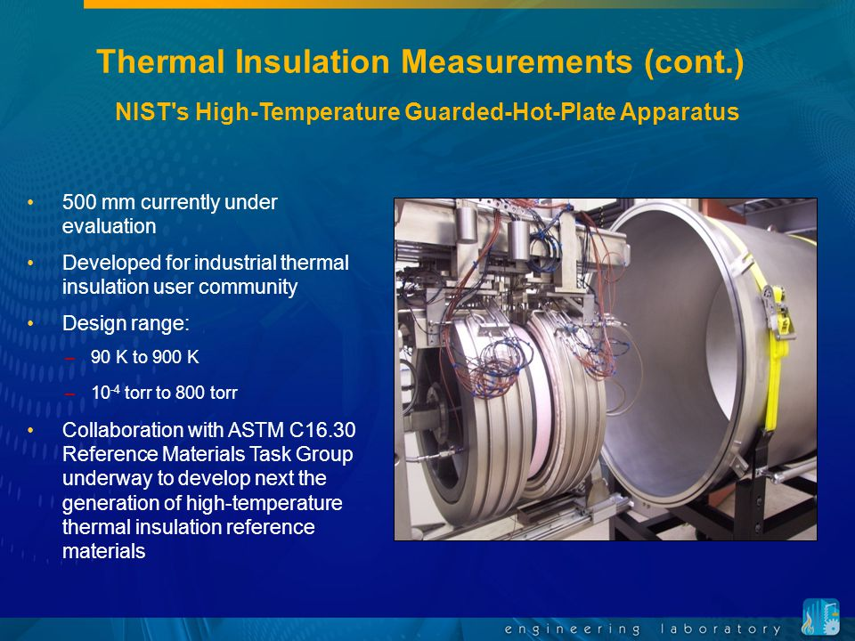 Thermal Insulation Measurements (cont.) 500 mm currently under evaluation Developed for industrial thermal insulation user community Design range: –90