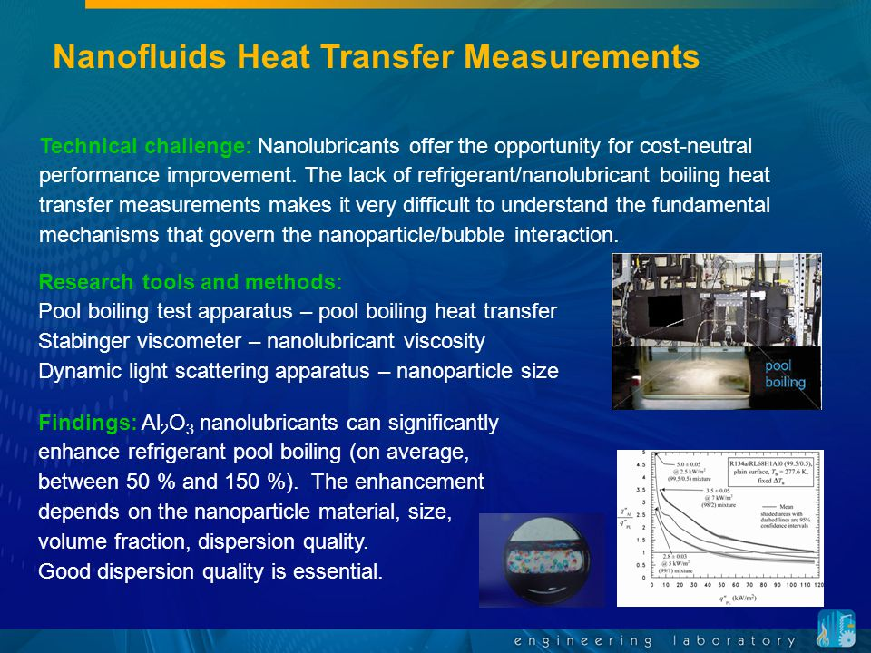Nanofluids Heat Transfer Measurements Technical challenge: Nanolubricants offer the opportunity for cost-neutral performance improvement.