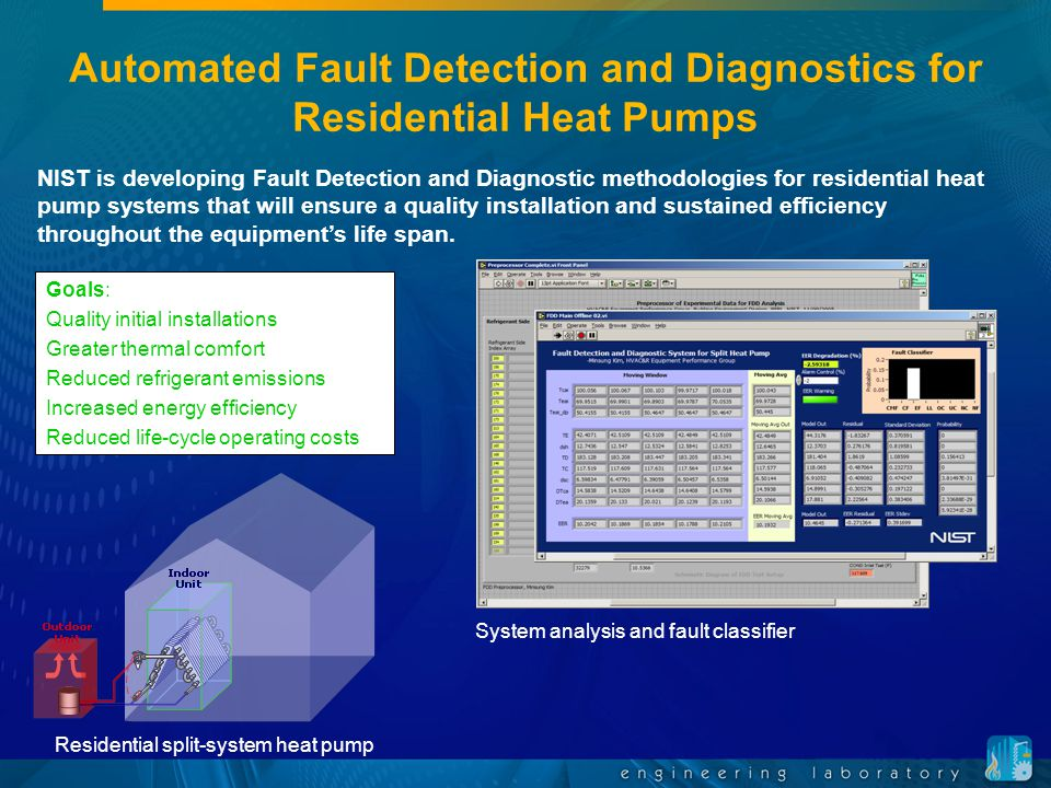 Automated Fault Detection and Diagnostics for Residential Heat Pumps Goals: Quality initial installations Greater thermal comfort Reduced refrigerant
