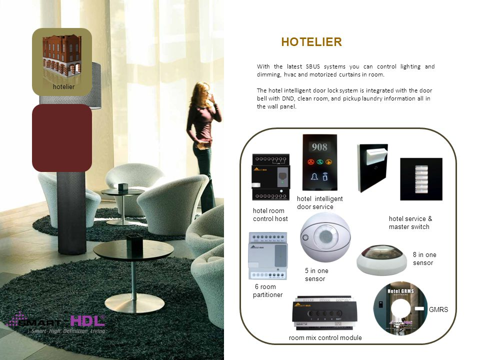 hotelier 6 room partitioner room mix control module hotel room control host hotel intelligent door service HOTELIER With the latest SBUS systems you can control lighting and dimming, hvac and motorized curtains in room.