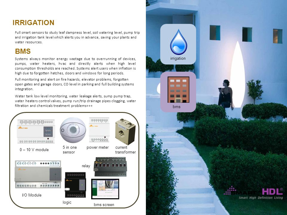 irrigation bms relay 0 – 10 V module I/O Module logic bms screen IRRIGATION BMS Full smart sensors to study leaf dampness level, soil watering level, pump trip and irrigation tank level which alerts you in advance, saving your plants and water resources.