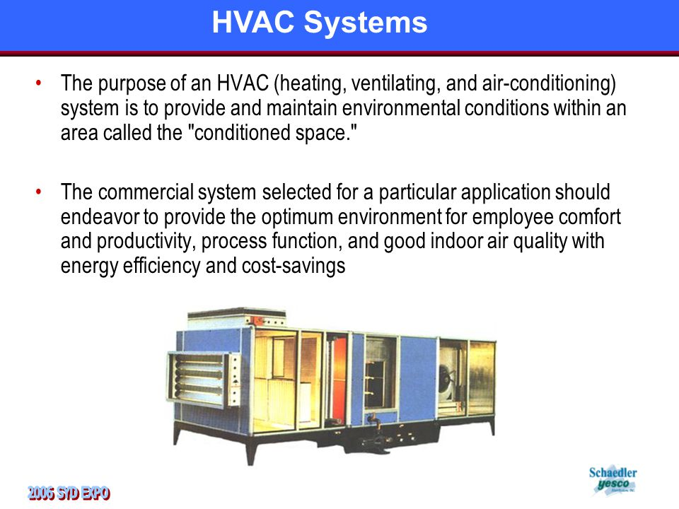 The purpose of an HVAC (heating, ventilating, and air-conditioning) system is to provide and maintain environmental conditions within an area called the conditioned space. The commercial system selected for a particular application should endeavor to provide the optimum environment for employee comfort and productivity, process function, and good indoor air quality with energy efficiency and cost-savings HVAC Systems