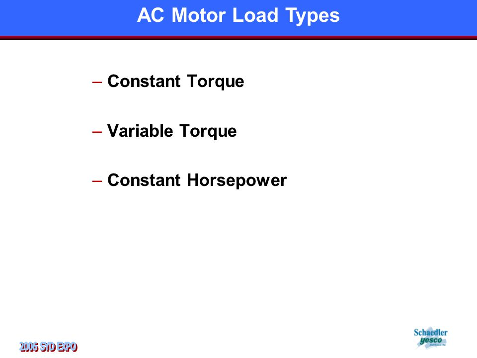 –Constant Torque –Variable Torque –Constant Horsepower AC Motor Load Types